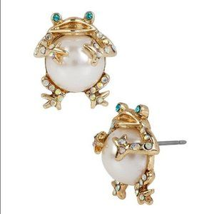 BETSY JOHNSON Faux PearlCrystal Frog Stud Earrings